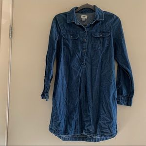 Old Navy | Blue Chambray Cotton Henley Shirt Dress